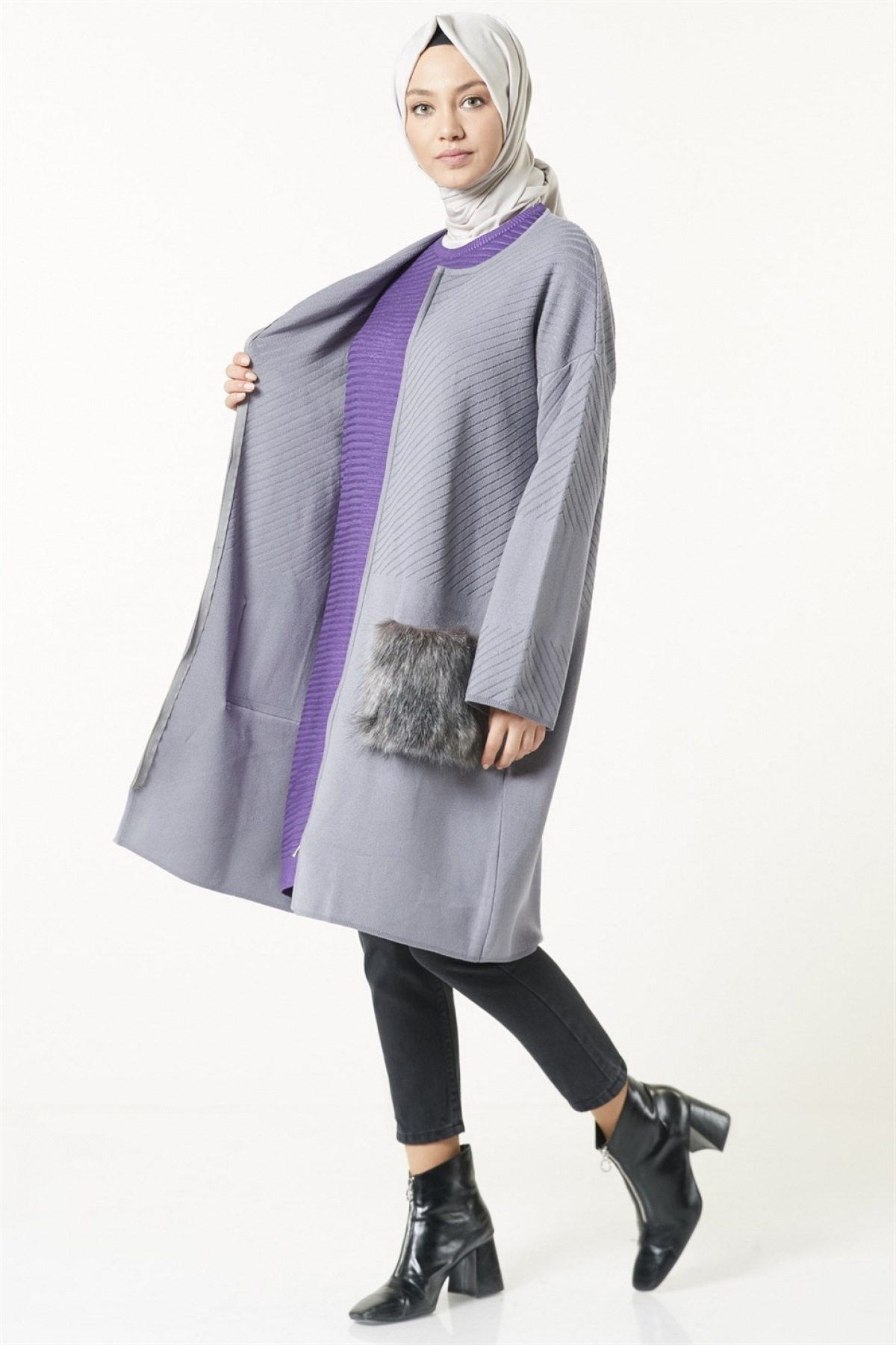 Armine Women Cardigan - 8kd1170  Grey