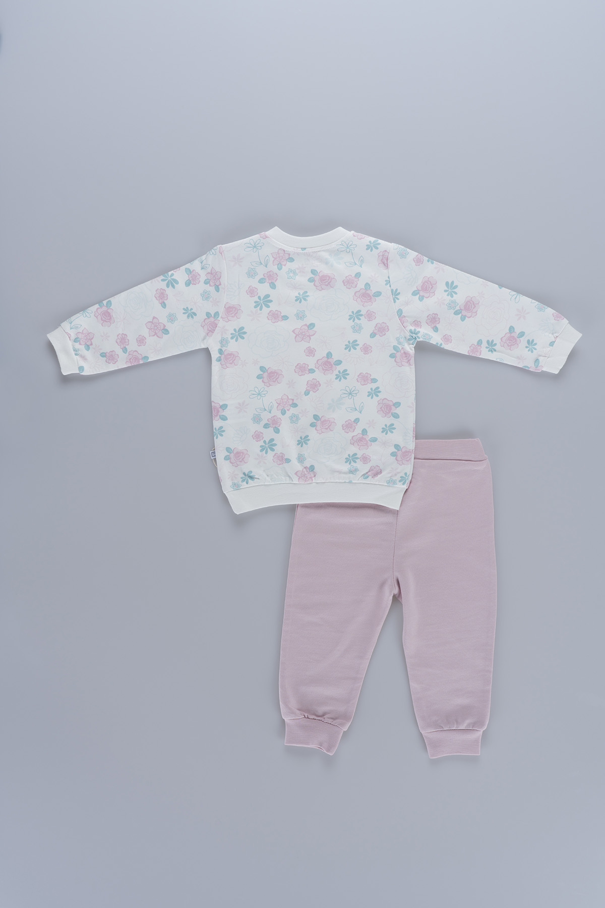 Flower Patterned Baby Girl 2 Pieces Set 59317 Pink