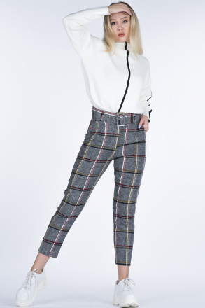 Plaid Belt Stamped Women's Pants 5588