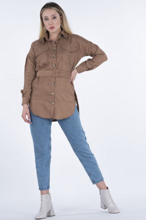 Velvet Women Shirt With Belt 2486