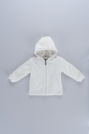 Hooded Unisex Baby Fleece Coat 18609 White
