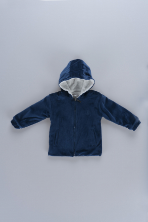 Hooded Unisex Baby Fleece Coat 18609 Blue