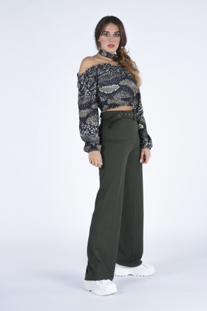 Women Trousers with a Belt 1227