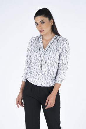 Necklace Detailed Drop Patterned Women's Shirt 2453