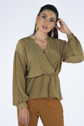 Double Breasted, Low Sleeve Women Blouse 192137