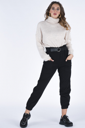 High Waist Women Pants with Front Pocket 04139