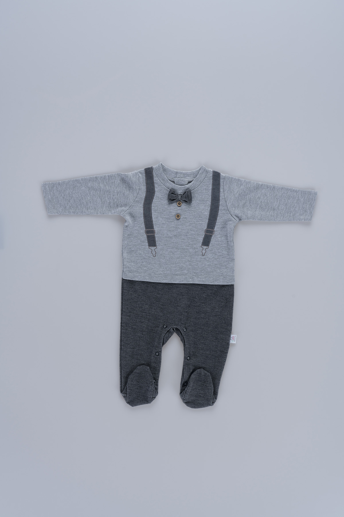 Bow-Tie Detailed Baby Boy Shoulder Straps Jumpsuit 60391 Grey