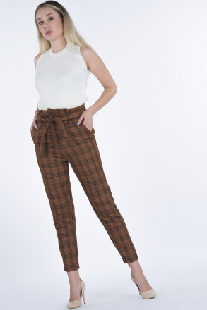 Wool Plaid Women Pants With Belt  202022