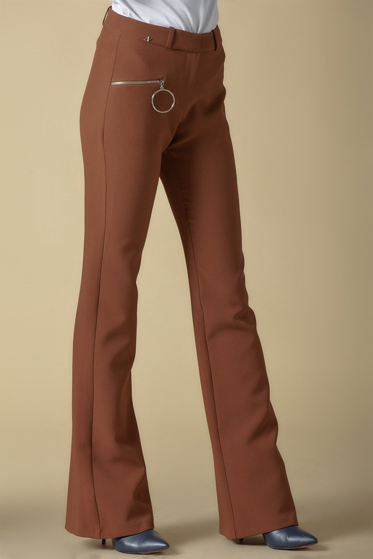 Armine Zipper Detailed Trousers 9K2809 Brown