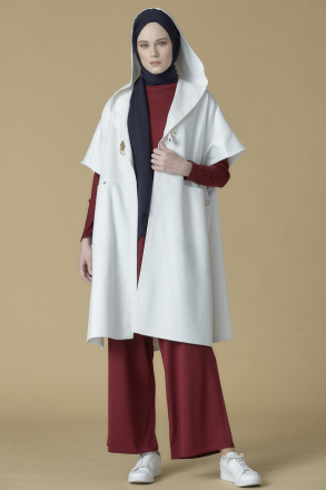 Armine Women's Cape With a Hoodie (Manto) - 9K7812