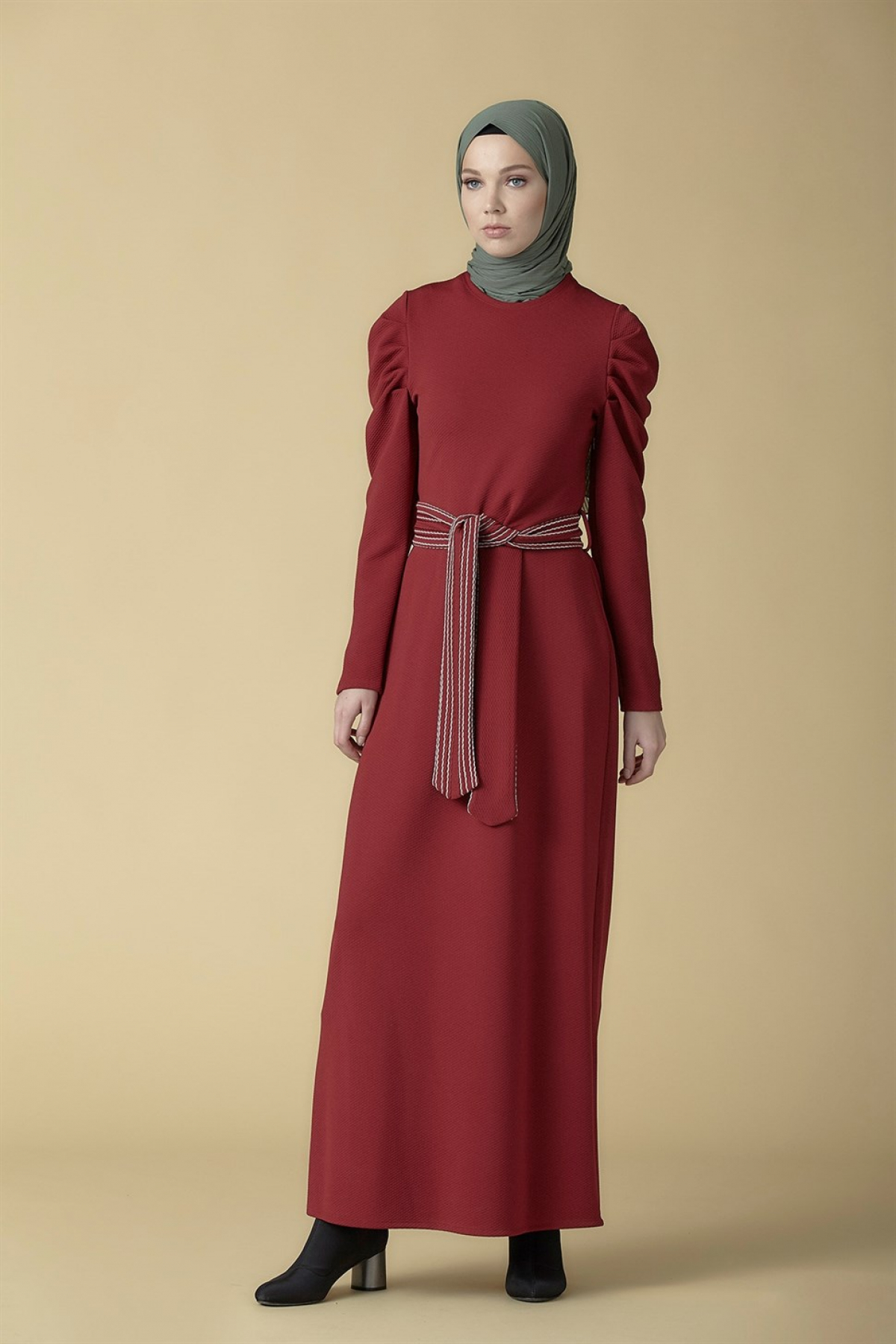Armine Belt Detailed Women's Dress 9K9816 Claret Red