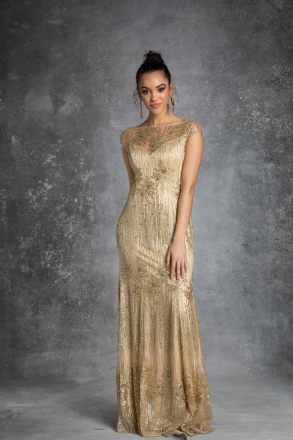Deliza Women Evening Dress Gold