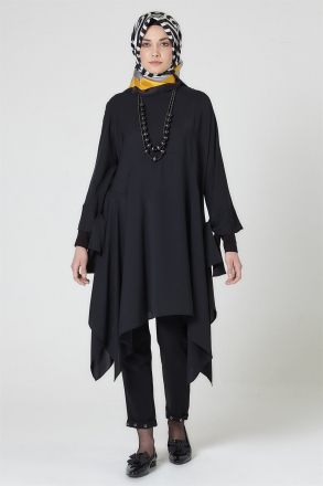 Armine Women's Tunic With a Necklace Accessory 9Y4732 Black