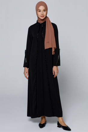 Armine Tassel Detailed Women's Abaya 9YZ8017 Black